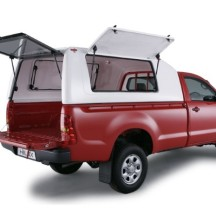 Single Cab Canopy with Gull Wing Windows open on Hilux